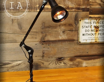 Vintage Industrial Fostoria Black Articulating Table Lamp
