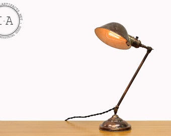 Antique Faries Japanned Finish Adjustable Brass Bankers Desk Lamp