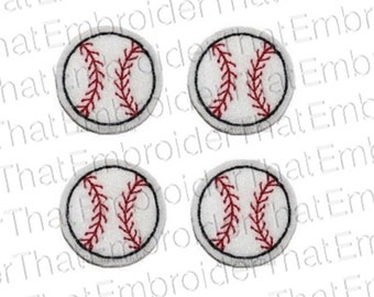 UNCUT Mini Baseball felt  applique embellishments feltie patches hair bow centers (4)