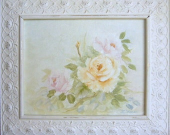 Yellow and Pink  Roses, Shabby Chic Frame, Free Shipping