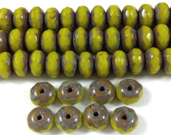 50 Chartreuse Picasso Czech Glass Rondelle Beads 7x4mm