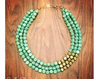 Mint and Gold Statement Necklace