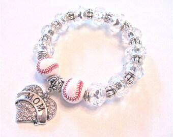 """MOM Bracelet.     """" Baseball Mom """"  Love showing the spirit."""