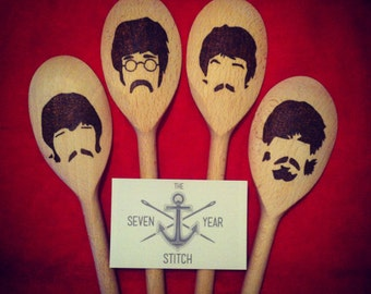 The Beatles 4 Piece Wooden Utensil Set.