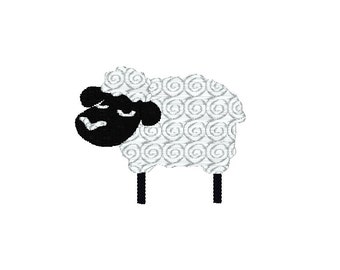 Silly Sheep Machine Embroidery Design / black / white / lamb / nursery embroidery design / counting sheep