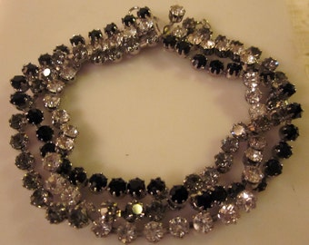 Classic Faux Onyx and Crystal Cuff Vintage Mid-Century Intertwined Bracelet