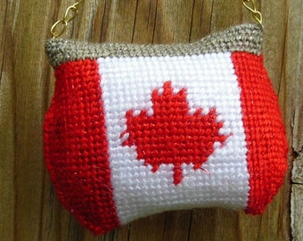Needlepoint Canadian flag Purse  Ornaments - Free Shipping in North America