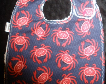 3-Layer Side snapping Toddler Bib - I'm a little crabby Nautical Crab print bib