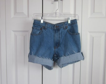 Jordache High Waisted Denim Shorts Cut Off Denim Shorts Womens Size 11 12 Mom Jean Shorts Hipster High Waist Shorts   GS110