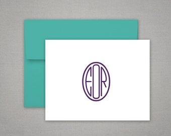 Personalized Stationery - Circle Style Monogram - Gift Set - Personalized Stationary