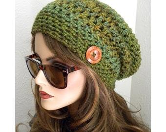 Boho Slouchy Beanie Hat  Green Melody Hand Crocheted  button  Teens Womens Fashion Accessories