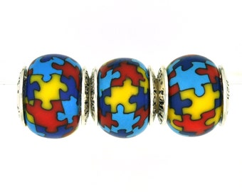 3 pack AUTISM AWARENESS BEADS to celebrate the Autism Awareness Month of April (expires 4-30)