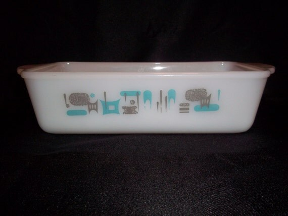 Vintage Anchor Hocking Fire King Loaf Pan Baking Dish Blue
