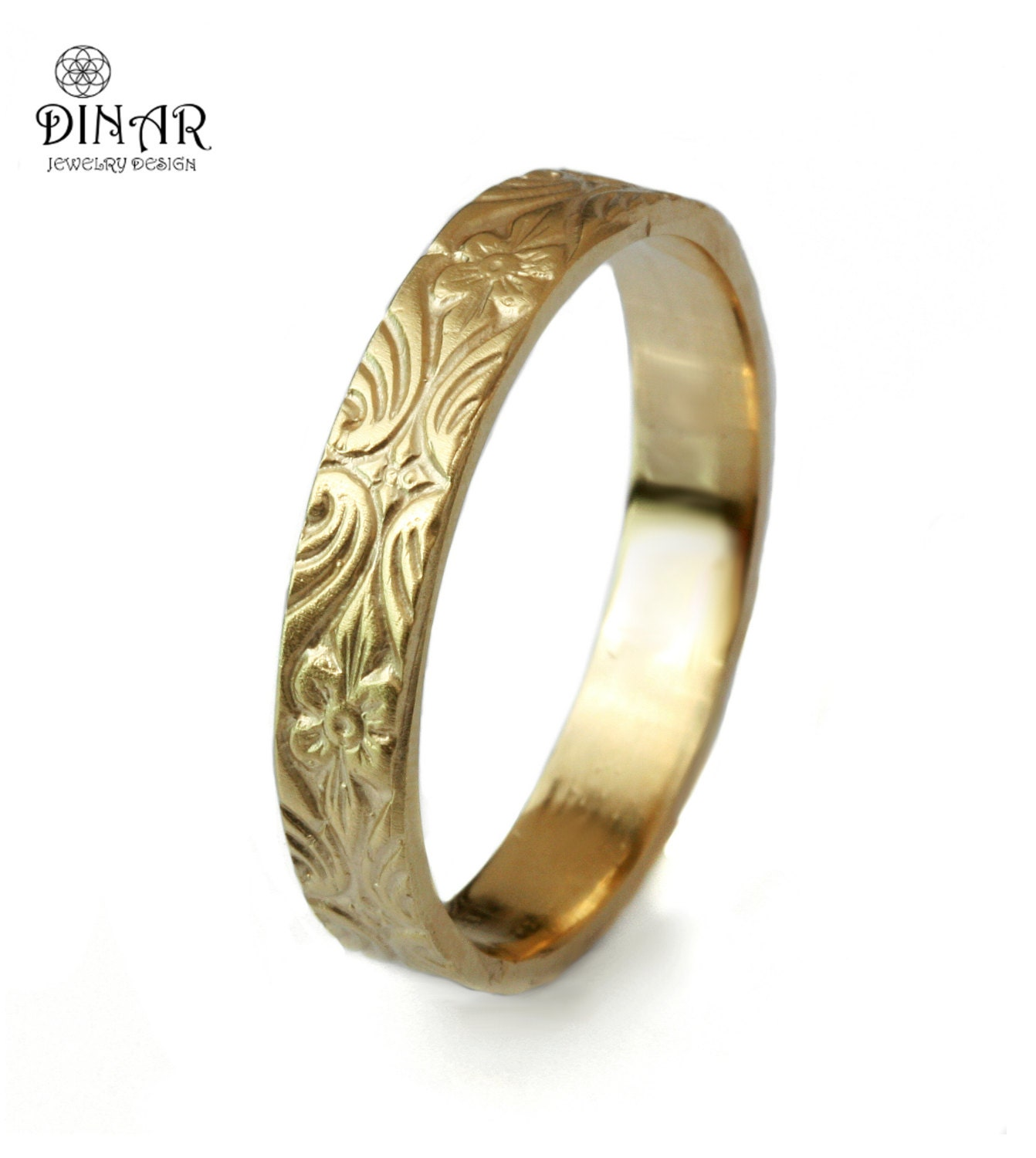 scroll wedding band engraved wedding bands 14k gold wedding band Vintage leaf and flowers Design 4mm thin ring Engraved leafs Floral pattern women s wedding band gold wedding