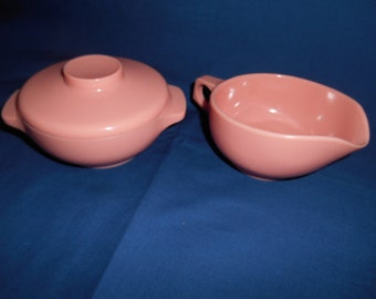 Harmony House Pink 3 Piece Cream and Sugar Set, Vintage Pink Melmac, Melamine
