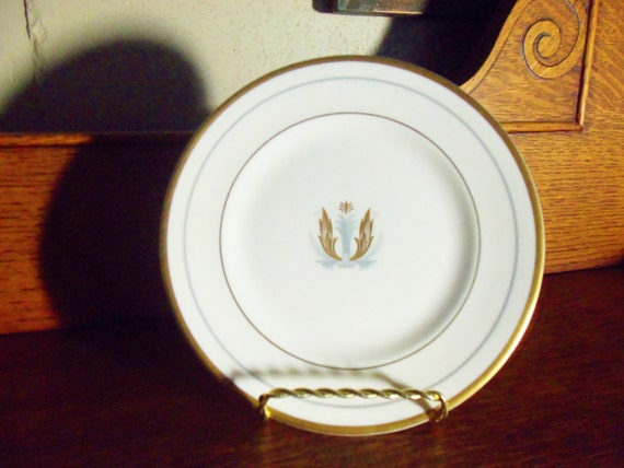 Syracuse Governor Clinton Salad or Dessert Plate, George Clinton, Governor New York, Gold Silver Crest, Art Deco Elegance, 7 Plates Avail