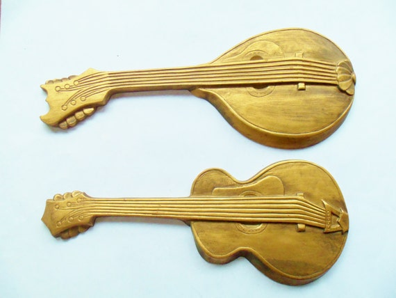 Cast iron guitar and mandolin wall decor 1960s by for Mandolin mediterranean kitchen
