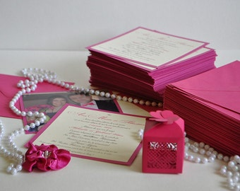 Fuchsia Wedding Invitation with Photo *SAMPLE
