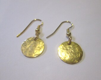 Distressed hammered disc earrings in silver, gold, copper,  rose gold