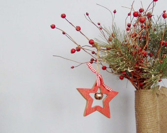 Red star ornament, wooden, red star outline with silver bell, vintage craft supplies for Xmas decor, Xmas tree ornament