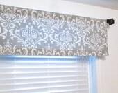 Storm Grey Damask  Window Valance Rod Pocket Curtain HANDMADE in USA