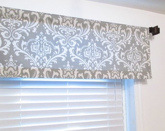 Storm Grey Damask  Window Valance Rod Pocket Curtain HANDMADE in USA