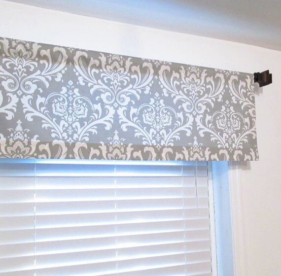 Straight Valance Storm Grey Damask Custom Sizing Available