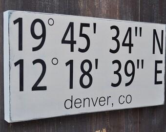 Latitude Longitude Sign, Custom Wood Wedding Sign, Bridal Shower Gift, Wedding Gift, Anniversary gift,, Engagement Gift, Important Date Sign