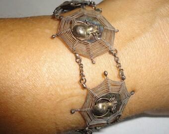 SILVER Filigree Spider Web Delicate Bracelet 6 Inch