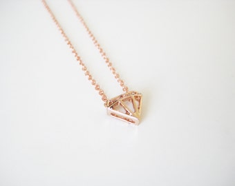 rose gold diamond shape necklace