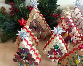 Wine cork Christmas Tree.....Upcycled  Cork Christmas Decorations,  Small..Tree