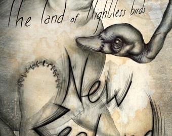 "New Zealand ""land of flightless birds"" Poster"