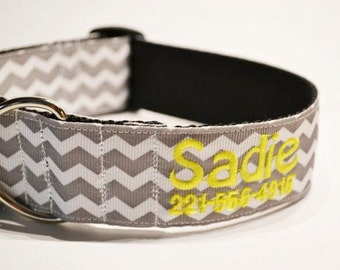 "Wide - Personalized - 1.5"" wide gray chevron dog collar - made to order"