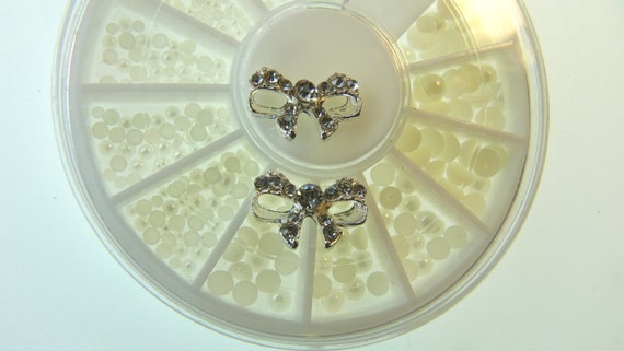 3d pearl beads diamond nail art diamond bow nail art 3d
