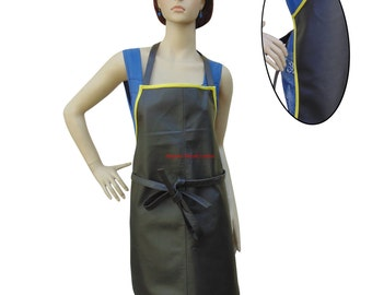 Women's Leather Apron With Full Yellow Piping BWP003