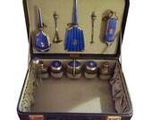 Rare antique guilloche enamel grooming set vanity sets dressing table sets suitcases K. KAUFMANN grooming set antique perfume bottles
