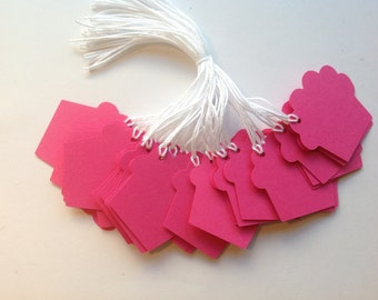 SUPER CLEARANCE - 30 Bright Pink Die Cut Cupcake Gift / Merchandise Tags (813)