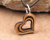 Small Heart Pendant Alder Wood Necklace Charm