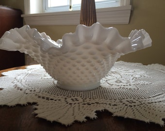 Vintage Milk Glass Hobnail Wavy Ruffled Bowl