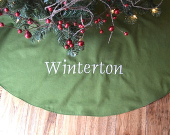 Personalized Christmas Tree Skirt - Green Linen Tree Skirt - Monogrammed Green Christmas Tree Skirt