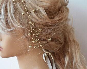 Wedding Pearl  headband, Gold Pearl Headband, Bridal Headband, Bridal Accessories, Wedding Accessories