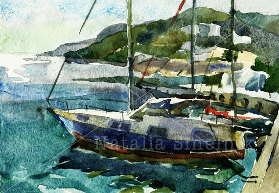 Sea landscape with yacht digital download from original watercolor marina clipart navy illustration