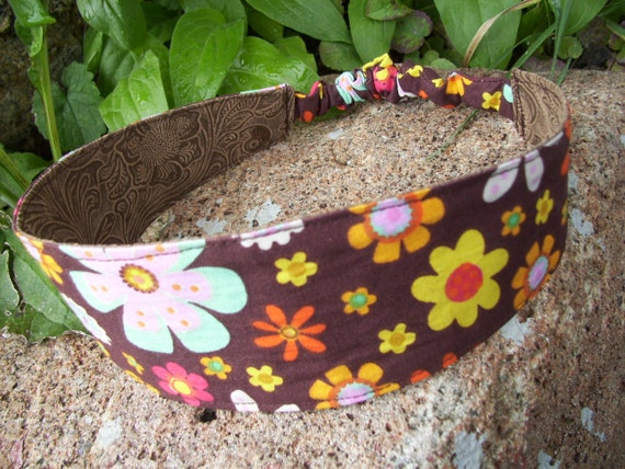 Floral and Faux Leather Reversible Fabric Headband