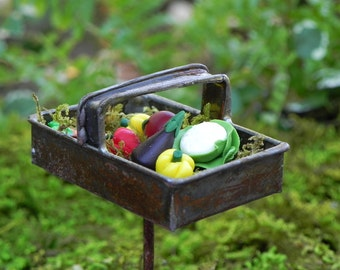 Fairy Garden Trug metal rusty basket with polymer clay vegetables miniature for terrarium