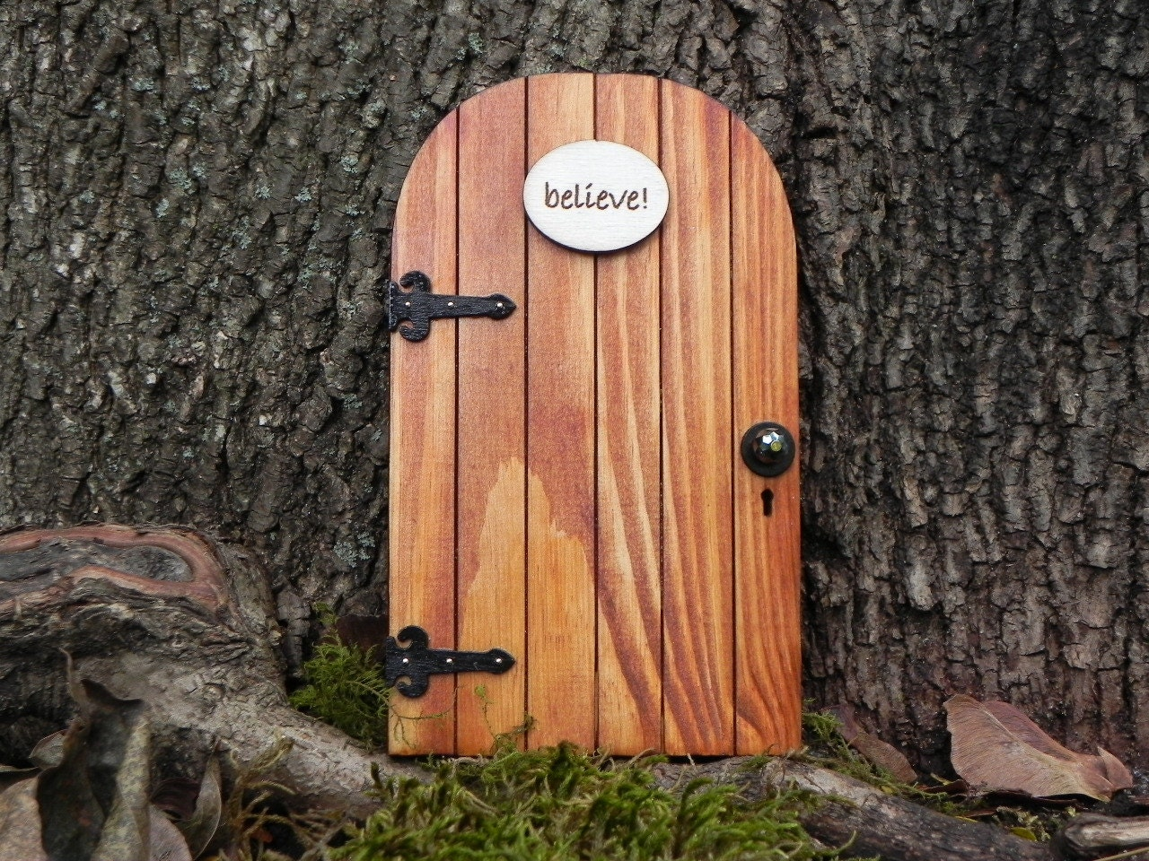 Fairy door fairy garden miniature wood believe for Wooden fairy doors