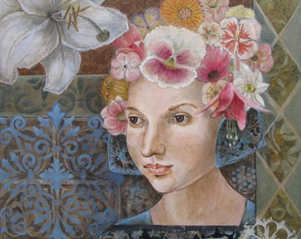 Original painting,  small painting woman portrait botanical flowers blues pinks greens small painting