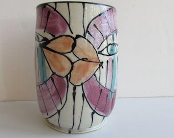 Studio Pottery Kissing Fish Vase