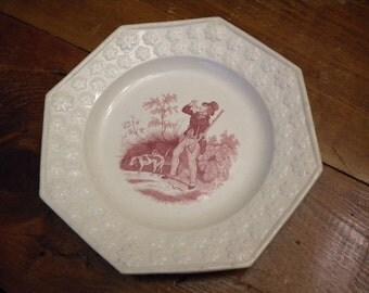 Creamware c 1830-40 Embossed Edge Octagonal Hunter Dog Plate
