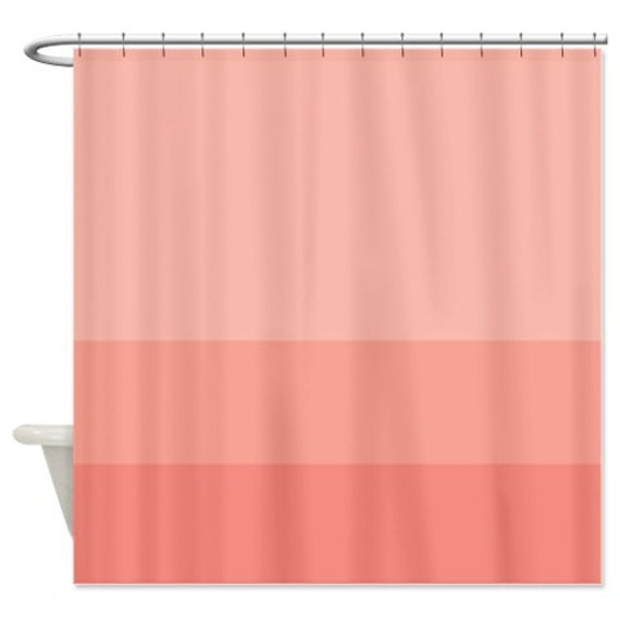 Custom Color Block Shower Curtain Coral Ombre Or Choose Any