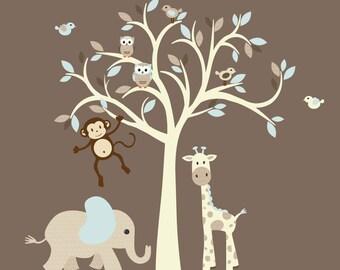 Jungle Animal Wall Decal, Tree Decal, Cream Tree Wall Decal, Nursery Wall Decal, Wall Sticker, Barely Aqua Design